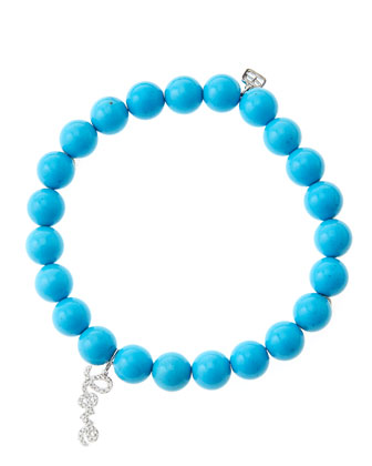 8mm Turquoise Beaded Bracelet with 14k White Gold/Diamond Love Charm (Made to Order)