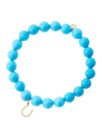 8mm Turquoise Beaded Bracelet with 14k Yellow Gold/Micropave Diamond Horseshoe Charm (Made to ...