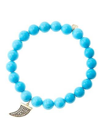 8mm Turquoise Beaded Bracelet with 14k Gold/Diamond Medium Horn Charm (Made to Order)
