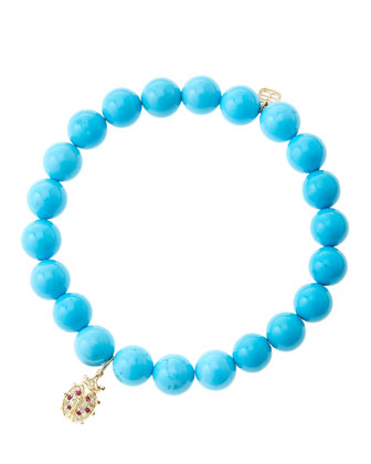 8mm Turquoise Beaded Bracelet with 14k Gold/Diamond Medium Ladybug Charm (Made to Order)