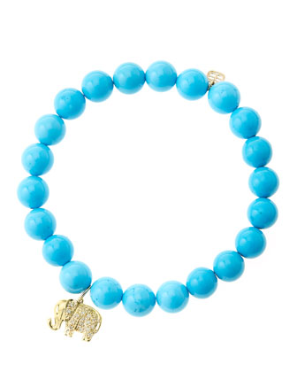 8mm Turquoise Beaded Bracelet with 14k Gold/Diamond Small Elephant Charm (Made to Order)