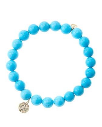 8mm Turquoise Beaded Bracelet with Mini Yellow Gold Pave Diamond Disc Charm (Made to Order) ...
