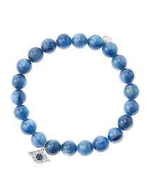 8mm Kyanite Beaded Bracelet with 14k White Gold/Diamond Small Evil Eye Charm (Made to Order) ...
