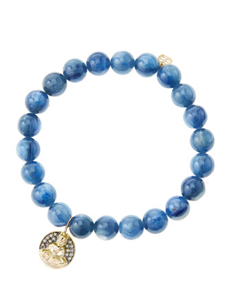 8mm Kyanite Beaded Bracelet with 14k Gold/Diamond Sitting Buddha Charm (Made to Order)