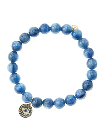 8mm Kyanite Beaded Bracelet with 14k Gold/Rhodium Diamond Small Evil Eye Charm (Made to Order) ...