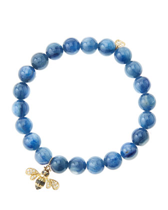 8mm Kyanite Beaded Bracelet with 14k Gold/Diamond Bee Charm (Made to Order)