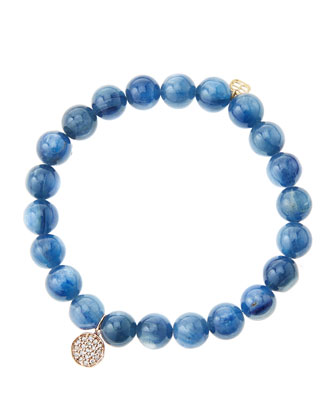 8mm Kyanite Beaded Bracelet with Mini Rose Gold Pave Diamond Disc Charm (Made to Order) ...