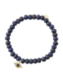 6mm Faceted Sapphire Beaded Bracelet with 14k Yellow Gold/Diamond Small Evil Eye Charm (Made to ...