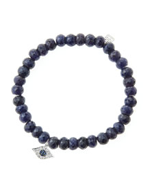 6mm Faceted Sapphire Beaded Bracelet with 14k White Gold/Diamond Small Evil Eye Charm (Made to ...