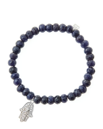 6mm Faceted Sapphire Beaded Bracelet with 14k White Gold/Diamond Medium Hamsa Charm (Made to ...