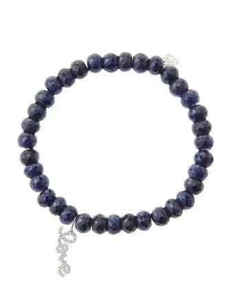 6mm Faceted Sapphire Beaded Bracelet with 14k White Gold/Diamond Love Charm (Made to Order)