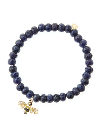 6mm Faceted Sapphire Beaded Bracelet with 14k Gold/Diamond Bee Charm (Made to Order)