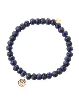 6mm Faceted Sapphire Beaded Bracelet with Mini Rose Gold Pave Diamond Disc Charm (Made to ...