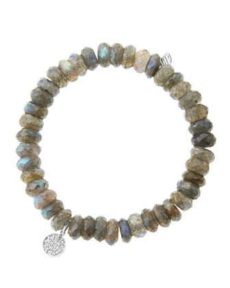 8mm Faceted Labradorite Beaded Bracelet with Mini White Gold Pave Diamond Disc Charm (Made to ...