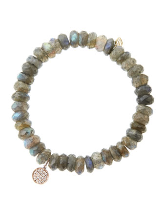 8mm Faceted Labradorite Beaded Bracelet with Mini Rose Gold Pave Diamond Disc Charm (Made to ...
