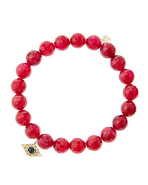 8mm Faceted Red Agate Beaded Bracelet with 14k Yellow Gold/Diamond Small Evil Eye Charm (Made ...