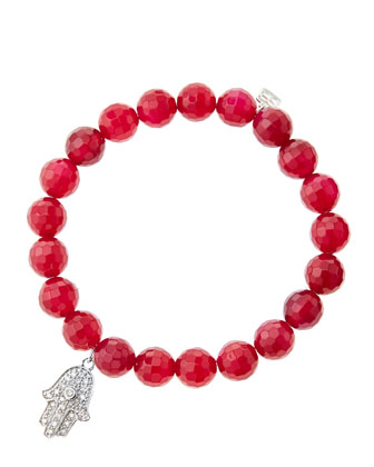 8mm Faceted Red Agate Beaded Bracelet with 14k White Gold/Diamond Medium Hamsa Charm (Made to ...