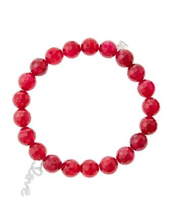 8mm Faceted Red Agate Beaded Bracelet with 14k White Gold/Diamond Love Charm (Made to Order) ...