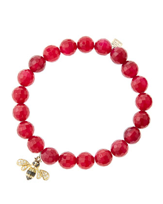 8mm Faceted Red Agate Beaded Bracelet with 14k Gold/Diamond Bee Charm (Made to Order)