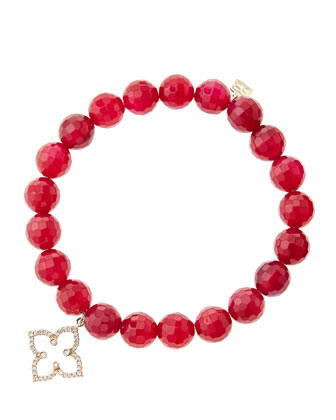 8mm Faceted Red Agate Beaded Bracelet with 14k Rose Gold/Diamond Moroccan Flower Charm (Made to ...