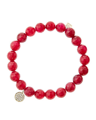 8mm Faceted Red Agate Beaded Bracelet with Mini Yellow Gold Pave Diamond Disc Charm (Made ...