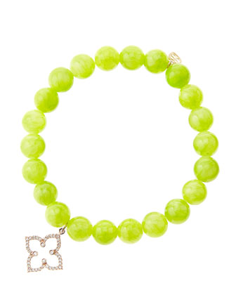 8mm Smooth Lime Jade Beaded Bracelet with 14k Rose Gold/Diamond Moroccan Flower Charm (Made to ...