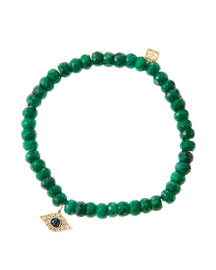 6mm Faceted Emerald Beaded Bracelet with 14k Yellow Gold/Diamond Small Evil Eye Charm (Made to ...