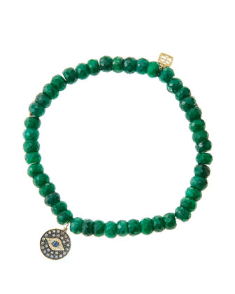6mm Faceted Emerald Beaded Bracelet with 14k Gold/Rhodium Diamond Small Evil Eye Charm (Made to ...