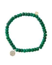 6mm Faceted Emerald Beaded Bracelet with Mini Yellow Gold Pave Diamond Disc Charm (Made to ...