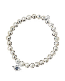 6mm Faceted Silver Pyrite Beaded Bracelet with 14k White Gold/Diamond Small Evil Eye Charm ...