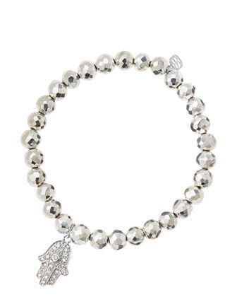 6mm Faceted Silver Pyrite Beaded Bracelet with 14k White Gold/Diamond Medium Hamsa Charm (Made ...