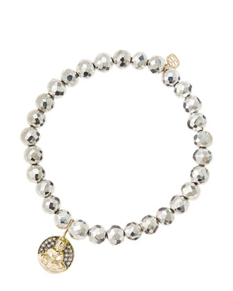 6mm Faceted Silver Pyrite Beaded Bracelet with 14k Gold/Diamond Sitting Buddha Charm (Made to ...