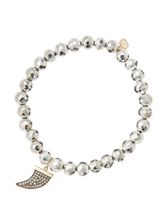 6mm Faceted Silver Pyrite Beaded Bracelet with 14k Gold/Diamond Medium Horn Charm (Made to ...