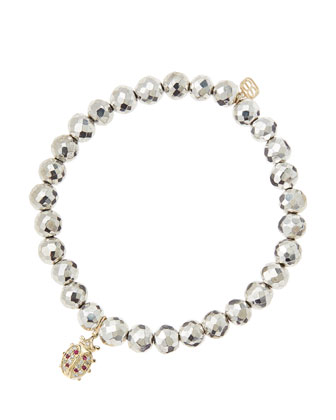 6mm Faceted Silver Pyrite Beaded Bracelet with 14k Gold/Diamond Medium Ladybug Charm (Made to ...