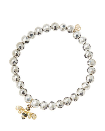 6mm Faceted Silver Pyrite Beaded Bracelet with 14k Gold/Diamond Bee Charm (Made to Order)