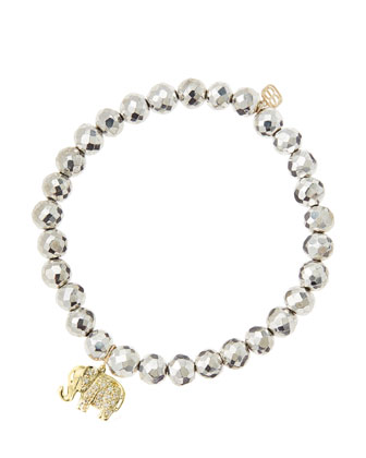 6mm Faceted Silver Pyrite Beaded Bracelet with 14k Gold/Diamond Small Elephant Charm (Made to ...