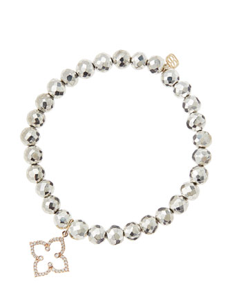 6mm Faceted Silver Pyrite Beaded Bracelet with 14k Rose Gold/Diamond Moroccan Flower Charm ...