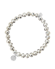 6mm Faceted Silver Pyrite Beaded Bracelet with Mini White Gold Pave Diamond Disc Charm (Made ...