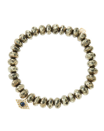 8mm Faceted Champagne Pyrite Beaded Bracelet with 14k Yellow Gold/Diamond Small Evil Eye Charm ...