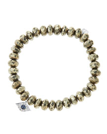 8mm Faceted Champagne Pyrite Beaded Bracelet with 14k White Gold/Diamond Small Evil Eye Charm ...