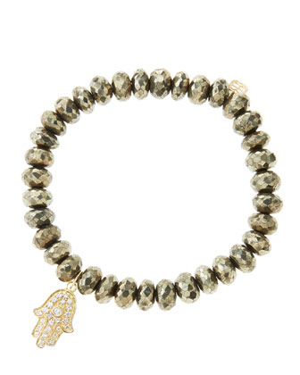8mm Faceted Champagne Pyrite Beaded Bracelet with 14k Yellow Gold/Diamond Medium Hamsa Charm ...