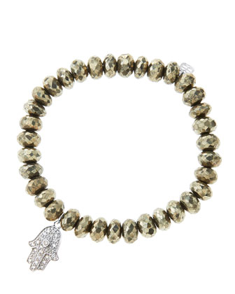 8mm Faceted Champagne Pyrite Beaded Bracelet with 14k White Gold/Diamond Medium Hamsa Charm ...