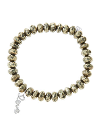 8mm Faceted Champagne Pyrite Beaded Bracelet with 14k White Gold/Diamond Love Charm (Made to ...
