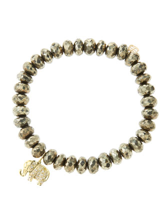 8mm Faceted Champagne Pyrite Beaded Bracelet with 14k Gold/Diamond Small Elephant Charm (Made ...