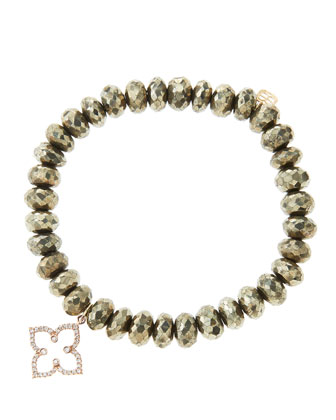 8mm Faceted Champagne Pyrite Beaded Bracelet with 14k Rose Gold/Diamond Moroccan Flower Charm ...