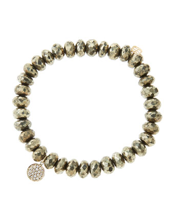 8mm Faceted Champagne Pyrite Beaded Bracelet with Mini Yellow Gold Pave Diamond Disc Charm ...