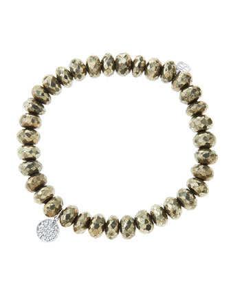 8mm Faceted Champagne Pyrite Beaded Bracelet with Mini White Gold Pave Diamond Disc Charm (Made ...