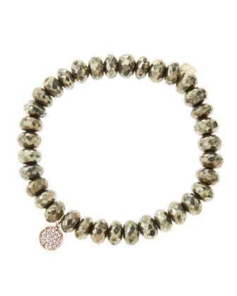 8mm Faceted Champagne Pyrite Beaded Bracelet with Mini Rose Gold Pave Diamond Disc Charm (Made ...