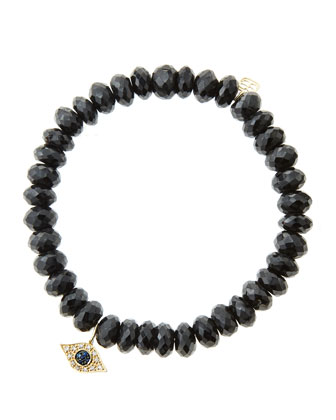 8mm Faceted Black Spinel Beaded Bracelet with 14k Yellow Gold/Diamond Small Evil Eye Charm ...