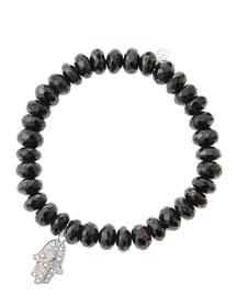 8mm Faceted Black Spinel Beaded Bracelet with 14k White Gold/Diamond Medium Hamsa Charm (Made ...